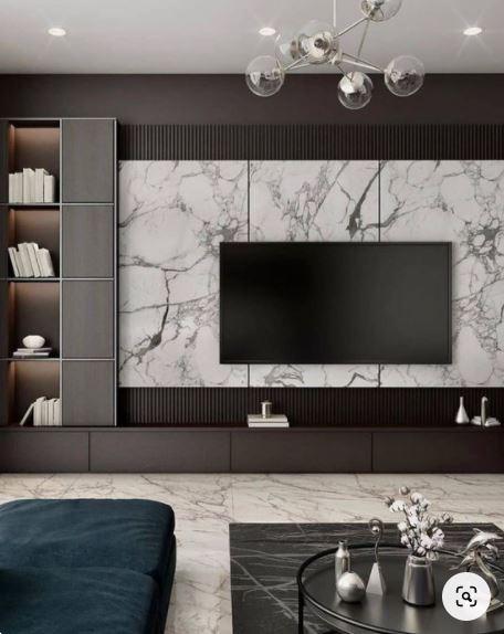 Phòng khách thiết kế với Melamin vân đá
